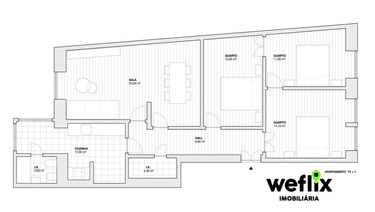 apartamento t3 ajuda - weflix imobiliaria planta
